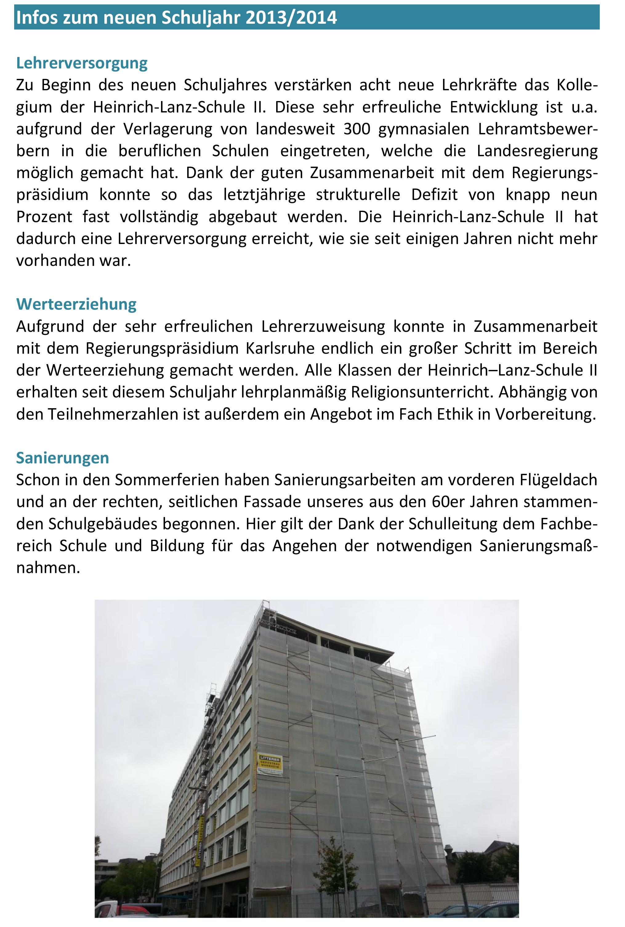 Infos zum neuen Schuljahr 2013